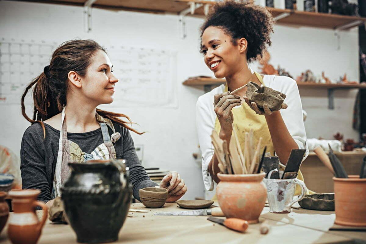Women Friends Enjoy a Local Pottery Studio in Fairfax, Virginia